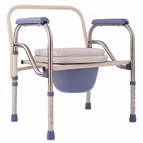 SunHai Folding Commode Chair with Padded Toilet Seat Bathroom Anti-Slip Adjustable Height Bathroom Shower Stool Elderly Person/Pregnant Woman/Handicapped Person Potty Chair
