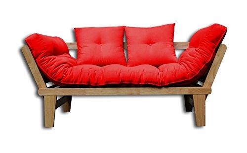 Divano-Letto Ssamo, Naturale, Rosso Futon, 200x82x32 cm.