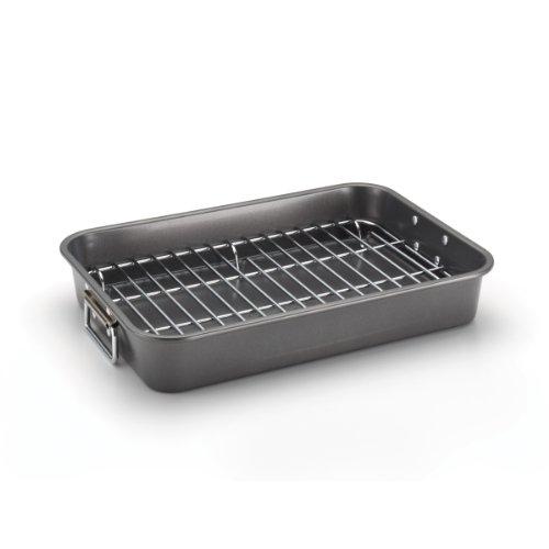 Farberware 57026 Nonstick Roasting Pan / Roaster with Rack - 11 Inch x 15 Inch, Gray
