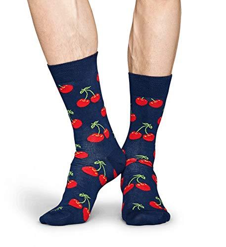Happy Socks Calzini in cotone con diversi motivi colorati, per uomo e donna Mehrfarbig 178 Cherry 41/46 IT