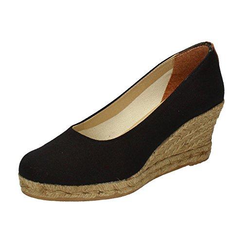 TORRES 4012 Zapatos CUÑA Esparto Mujer Alpargatas Negro 38