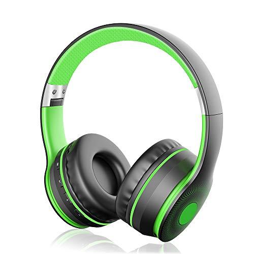 Cuffie Bluetooth Senza Fili 4 in 1, Sunvito Pieghevole Auricolari con Mic, Lettore MP3, Radio FM, Auricolare Collegato, Regalo Cuffie Over Ear Stereo per Phone Portatili PC (Rosa-Gold)