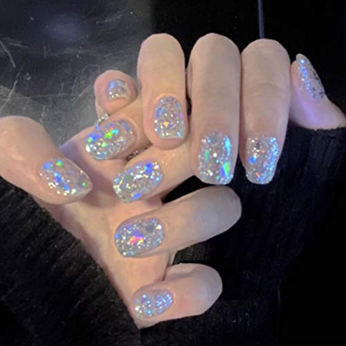 Dreamyn Press on Nails Glitter Square Fake Nails Full Cover French Acrylic Nail Short False Nails for Women and Girls 24PCS (A-Clear Shimmer)