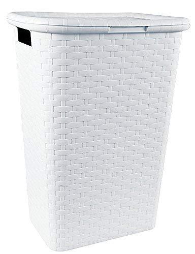 Spetebo Wäschebox in Flechtoptik 65 Liter - weiß - Wäschetruhe Wäschekorb