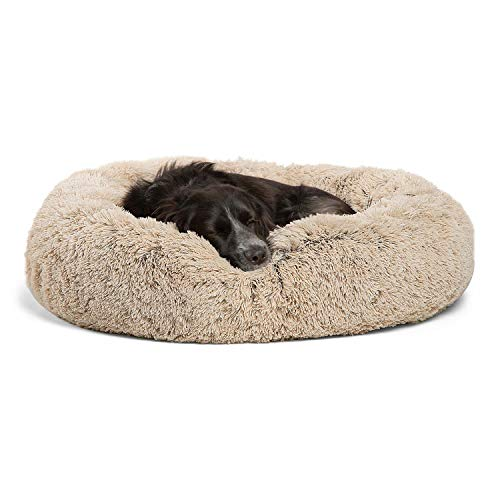 Best Friends by Sheri Calming Shag Vegan Fur Donut Cuddler (30x30 Medium - Taupe) Removable Zippered Shell, Cat and Dog Bed, Self Warming and Cozy for Improved Sleep for Pets Up to 45 lbs.