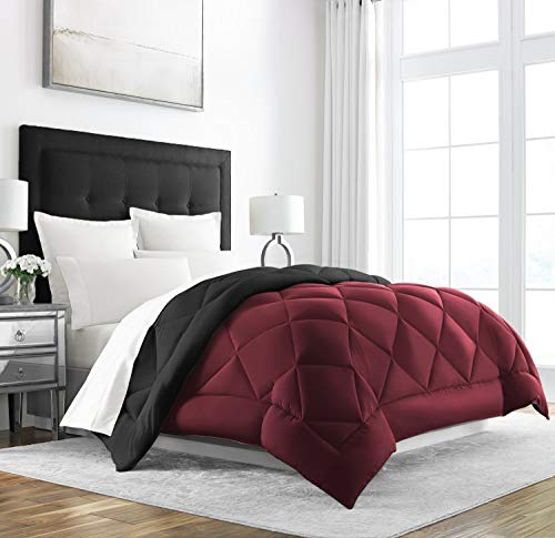 Sleep Restoration Down Alternative Comforter - Reversible - All-Season Hotel Quality Luxury Hypoallergenic Comforter - King/Cal King - Burgundy/Black