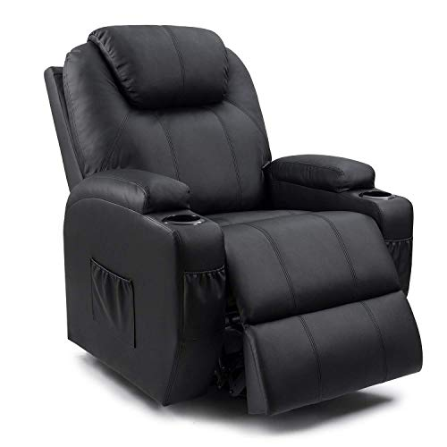Homall Recliner Chair with Massage Single Living Room Huge Thick Padded Heating Function Sofa Seat, Black