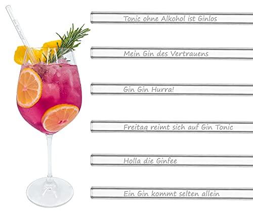 BRILLIANT INFUSION | Glas-Strohhalme GIN EDITION | 6x 20cm | Gin Geschenkset | Hochwertige Gravur...