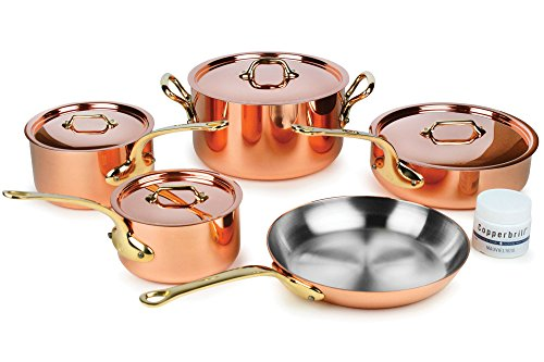 Mauviel M'heritage M250B 9-piece 2.5mm Copper Cookware Set with Bronze...