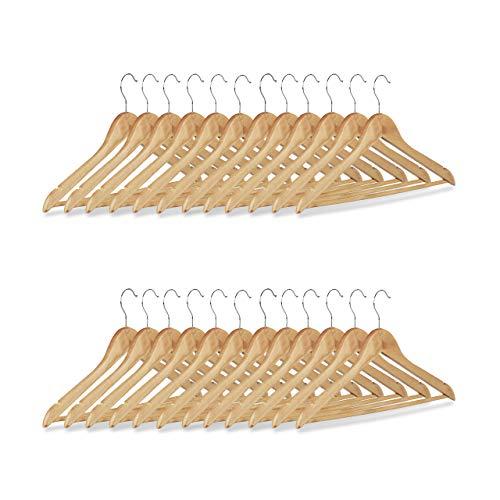 Relaxdays Set grucce, 24 stampelle in legno per pantaloni, guardaroba, gancio rotabile a 360, HxL:...