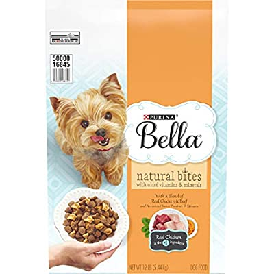 One (1) 12 lb. Bag - Purina Bella Natural Bites With Real Chicken & Beef Plus Vitamins & Minerals Adult Dry Dog Food Natural formula plus vitamins and minerals Real chicken is the #1 ingredient Blend of antioxidants to help support your small dog's i...