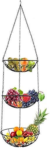 Koomiao Obstkorb hängend,Hängekorb zum Aufhängen,Obst Etagere mit längerer Kette zur Obst Aufbewahrung,130cm