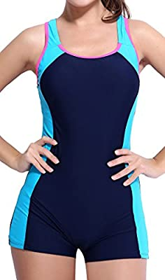 Boyleg one piece sports swimsuits for women/ladies/girls Racerback and U back, boy shorts and high cut triangle bottom; choose whichever you like Nice color splicing decorated and wonderful-shaped waist cut design Double lined and bulit-in bras, chlo...