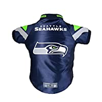 This officially Licensed Pet Jersey is built with authentic team dazzle football fabric Sewn stripe construction looks and feels like an authentic people jersey Bold team colors and eye-catching team graphics emblazon each jersey Pet-friendly comfort...