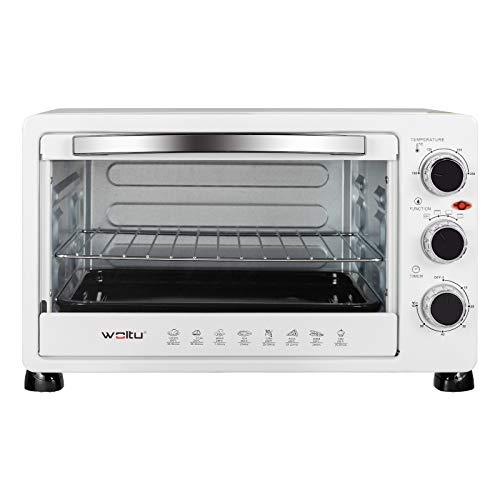 WOLTU BF11ws Forno Elettrico 25 Litri Forno per Pizza Fornetto Bianco, Potenza 1500 W, Timer 60' e 3 Posizioni di Cottura