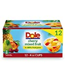 Dole Fruit Bowls Cherry Mixed Fruit in 100% Juice, Gluten Free Healthy Snack, 4 Oz, 12 Total Cups