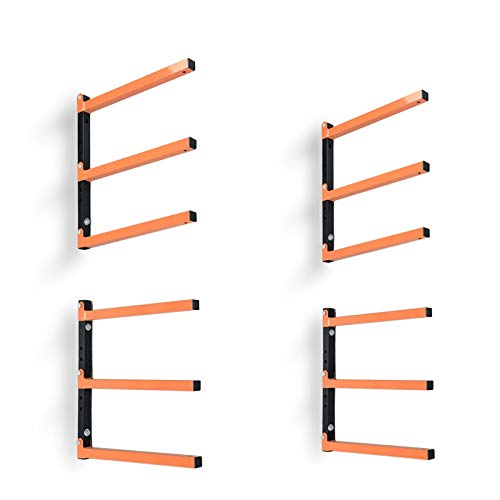 Wood Organizer and Lumber Storage Metal Rack with 3-Level Wall Mount, 2 Pack
