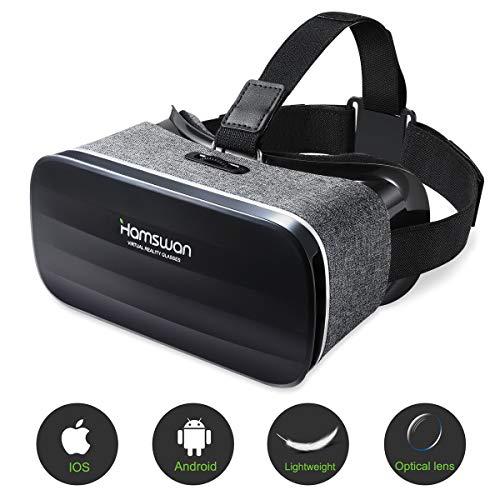 HAMSWAN Occhiali VR Realt Virtuale VR Occhiali Compatibile con Tutti Gli Smartphone da 4,7 a 6,0 Pollici-Visore Realt Virtuale Universale, Regalo Perfetto di Natale e di Compleanno (Nero & Grigio)