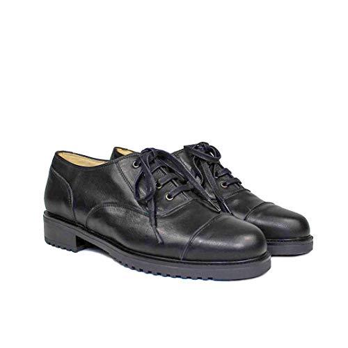 Janet - Oxford Blucher Zapatos Negras de Piel para Mujer - Planos Suela Gruesa Tacon Bajo 3 cm - Cierre Cordoneras - Forro Piel - Mocasines Sport Casual - Piel Vacuno Negro - Negro 38 EU