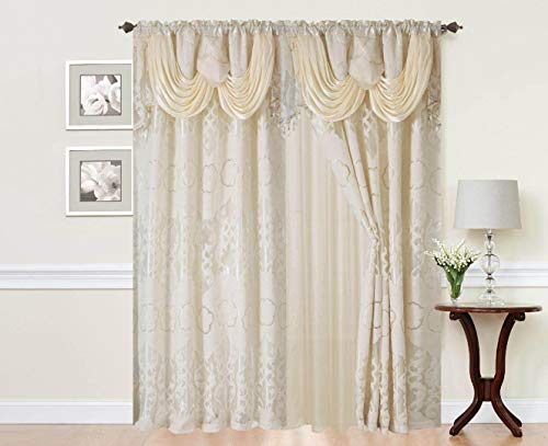 Sapphire Residence Rod Pocket Window 84 Inch Size Curtain Drape Panels w/Connected Valance & Sheer Backing + 2 Tassels – Conventional Floral Curtain Drape Set for Residing and Eating Rooms, Julia Beige