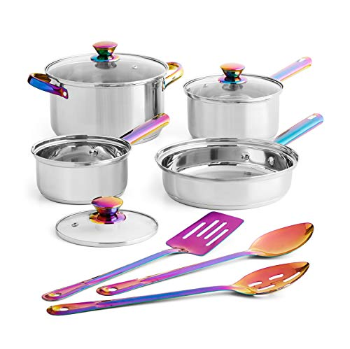 Mainstays Iridescent 10 Piece Cookware Set! Includes 8.5 Inch Saute Pan, 1 Qt And 2 Qt Saucepan With Lids, 4 Qt Dutch Oven With Lid, And 3 Types Of Spoons! Dishwasher Safe Stainless Steel Cookware!