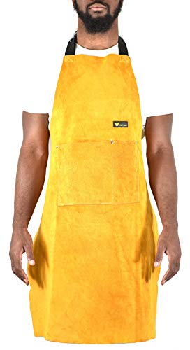 """Leather Welding Apron Heat Flame Resistant Heavy Duty Work Apron with 2 Pockets, 36"""" Long with back adjustable back and neck straps for Men & Women, color Brown"""