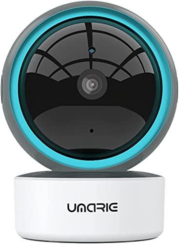 Telecamera Wi-Fi Interno Compatibile con Alexa, UMARIE 1080P Videocamera di Sorveglianza 360 Gradi, Tracciamento del Movimento, Visione Notturna, Audio Bidirezionale, Avviso Applicazione
