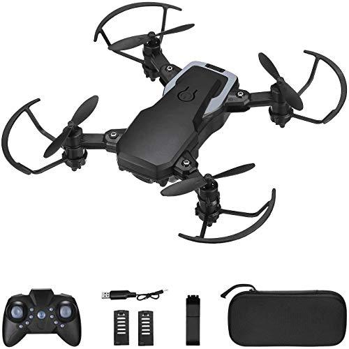 Powerextra Mini Drone con Fotocamera 3 x Batterie per Principianti - Mini Drone Pieghevole con Telecomando Telecamera HD WiFi FPV 2.4 GHz 3D Flips e Funzione Twist con Custodia