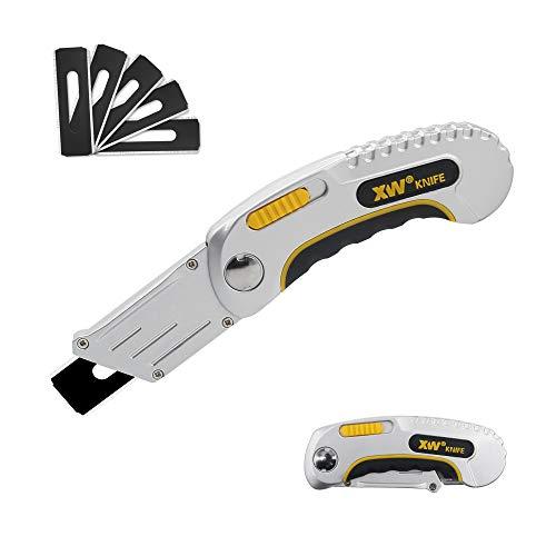 XW Folding Carpet Knife, Razor Blade Heavy Duty Utility Knife with...