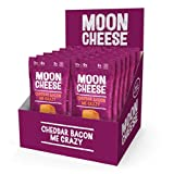 Moon Cheese Cheddar Bacon Me Crazy, 100% Bacon Cheddar Cheese Snacks, Crunchy Keto Food, Low Carb, High Protein, 1 oz (12 pack)
