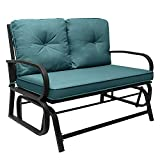 Outdoor Swing Glider Rocking Chair,Patio Glider Bench,Cushioned 2 Person Rocking Chair Garden Loveseat,Patio Rocker Chair,Patio Steel Frame Chair Set with Cushion (Peacock Blue)