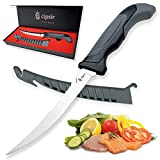 Meat and fish Fillet Knife - Curved salty water resistant german steel 7...