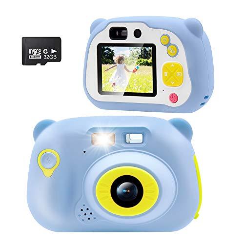 Sonkir (Scheda SD da 32 GB Inclusa) Fotocamera Bambini Digitale, Fotocamera Frontale Portatile da 15,0 MP e Fotocamera / Videocamera, Regalo per Ragazzi e Ragazze (Blu)
