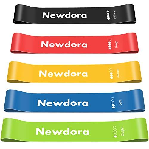 Newdora Elastici Fitness (Set di 5), Bande Elastiche di Resistenza con 5 Livelli di Resistenza,...