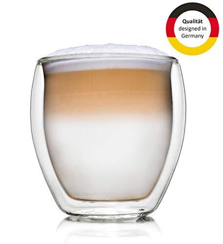 Creano Vetro Termico XXL a Doppia Parete Bulboso, Grande Bicchiere da Bere Resistente al Calore in Vetro Borosilicato, Vetro per caffè/tè | 400ml