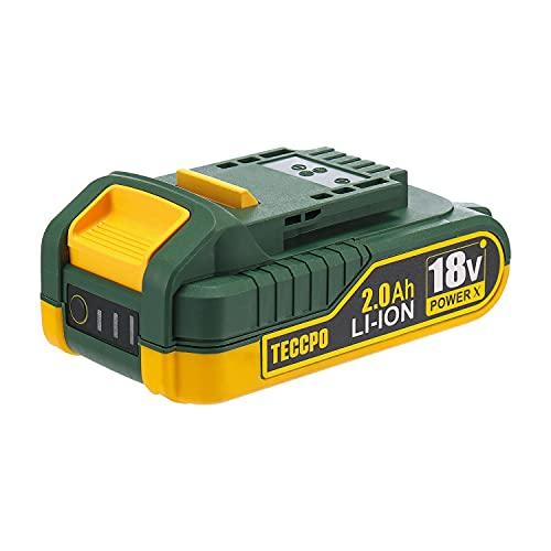 TECCPO Professional 18V 2.0Ah Batteria Ricaricabile al Litio, Batteria di Ricambio per Tutti TECCPO Strumenti da 18V senza Fili - TDBP02P