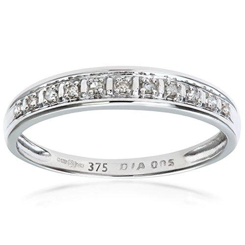 Naava Anillo de Mujer con Oro blanco de 9 quilates (375) con Diamantes Brillantes - Tamaño 12