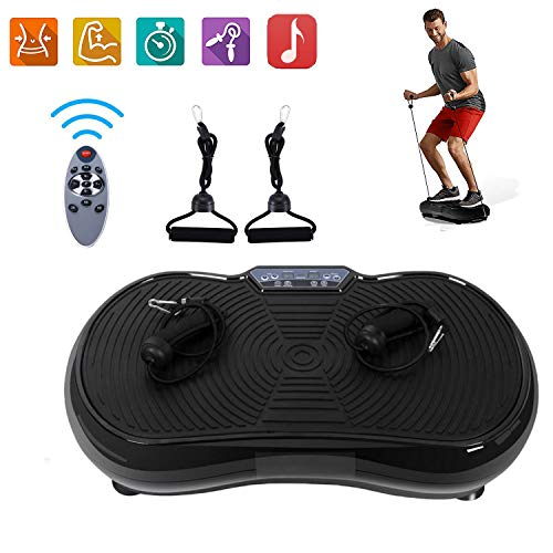 ROOJER Vibrationsplatte Power Vibro Vibrationsgerät Vibrationstrainer Body Shaper Mit LCD Display, Trainingsbänder,MAX 150kg