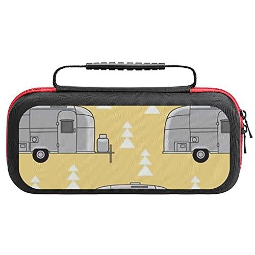 Kleine Aluminium-Anhänger auf weichem, gelbem Transportkoffer für Nintendo Switch, kompatibel & schützend & stoßfest Hartschalenkoffer