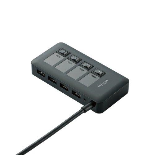 エレコム USB3.0 ハブ 4ポート ACアダプタ付 セルフ/バス両対応 マグネット付 電源スイッチ ブラック U3H-S...