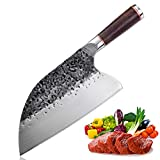 Serbian Chefs Knife High Carbon Steel Meat Cleaver Kitchen Knives Full Tang Vegetable Chopping Knife Butcher Knife for Home BBQ Camping Without Sheath