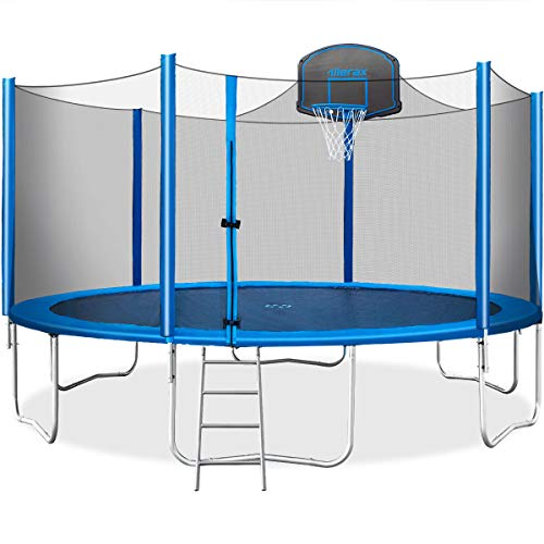 Merax 15 FT Trampoline with Safety Enclosure Net, Basketball Hoop and Ladder - 2020 Upgraded  Kids Basketball Trampoline (Blue)