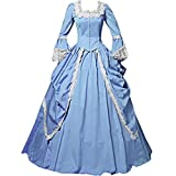 I-Youth Womens Lace Marie Antoinette Masked Ball Victorian Costume Dress (L, Sky Blue)