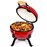 TUSY Charcoal Grill Advanced Portable Ceramic Griller Black,12-Inch Foldable Barbecue Grilling Charcoal Oven with Digital Thermometer.