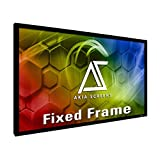 Akia Screens 120 inch Fixed Frame Projector Screen Wall Mount 16:9 8K 4K Ultra HD 3D Ready CINEWHITE UHD-B Black 120' Projection Screen for Indoor Movie Video Home Theater Cinema Office AK-FF120WH2