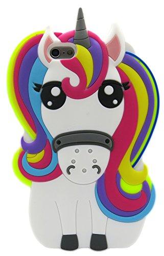 3C Collection Fundas iPhone 6 Silicona Unicornio, Fundas iPhone 6S Silicona Unicornio, Funda de Silicona Animales Suave Unicornio 3D para Fundas iPhone 6 y iPhone 6S Carcasas Dibujos Animados