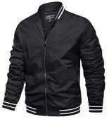 TACVASEN Men's Outdoor Sports Jackets Classic Cycling Softshell Jackets Zip Up Black, L