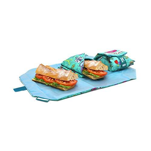 Rolleat  BocnRoll  Porta Panino e Sandwich per Bambini. Ecologico, Riutilizzabile, Convertibile in Tovaglia | Porta Snack e Merenda, Impermeabile, Antimacchia, Lavabile. Colore Azzurro. Senza BPA