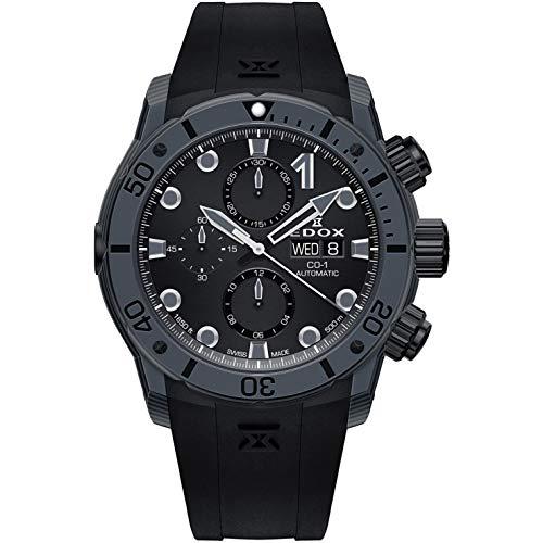 Edox CO-1 Herren-Armbanduhr 45mm Armband Kautschuk Schwarz Gehäuse Kohlefaser Automatik 01125 CLNGN NING