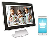 PhotoSpring (16GB) 10 inch WiFi Cloud Digital Picture Frame - Battery, Touch Screen, Plays Video and Photo Slideshows, HD IPS Display, iPhone & Android app (White/Black Mat - 15,000 Photos)